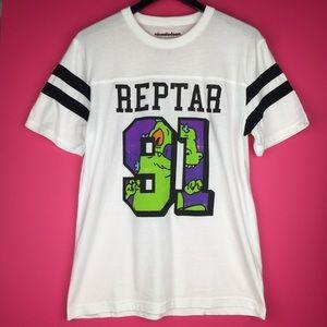 Nickelodeon Tee Rugrats Reptar 91 Striped Sleeve